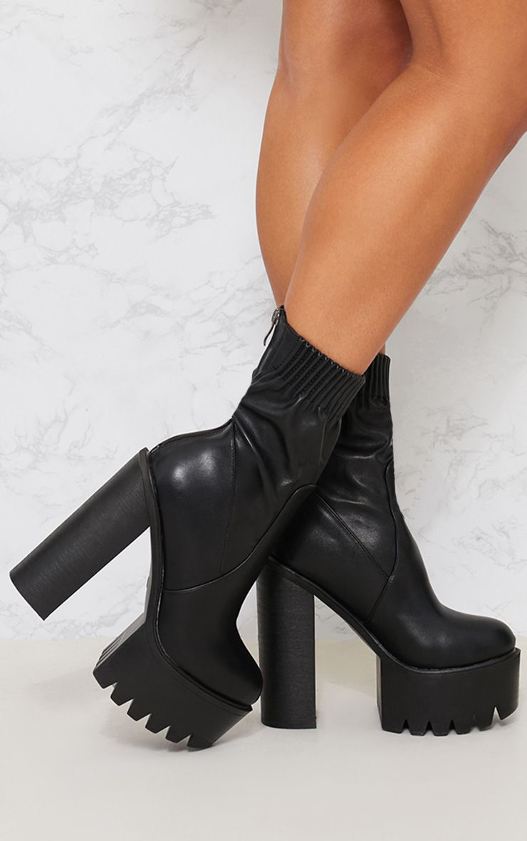 Black Extreme Platform Sock Boot