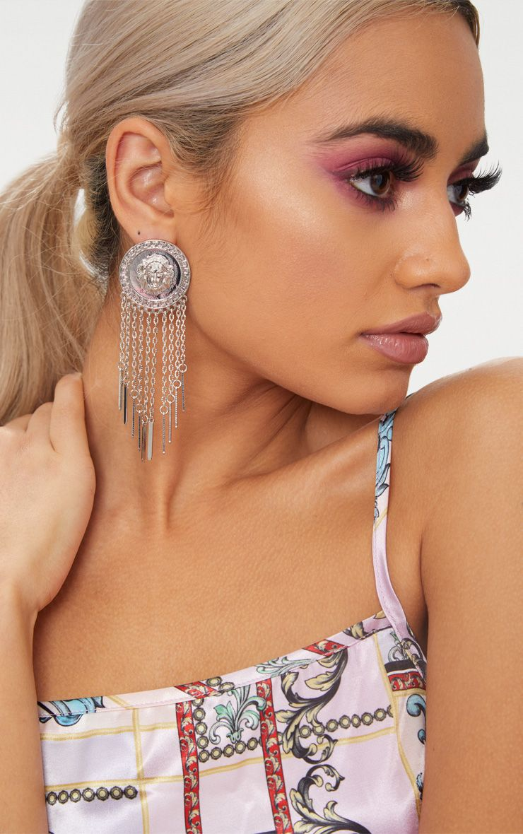 Silver Lion Disc Tassel Earrings 1