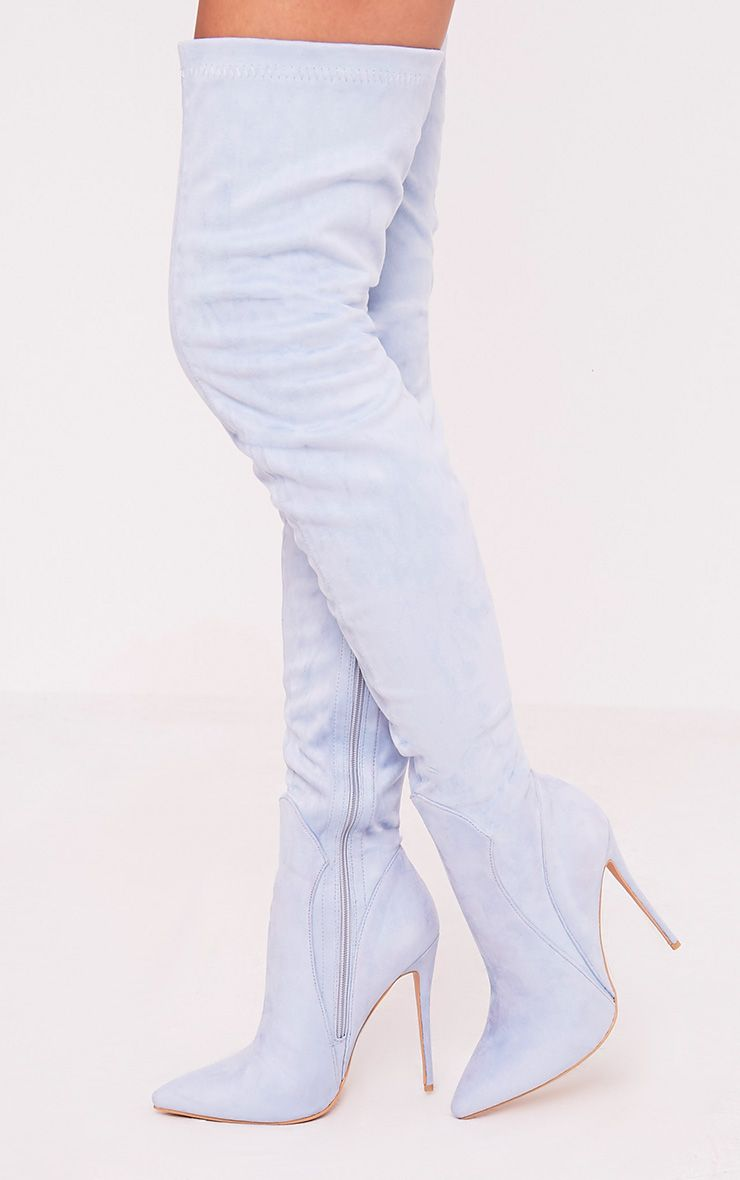 Emmi Baby Blue Faux Suede Extreme Thigh High Heeled Boots