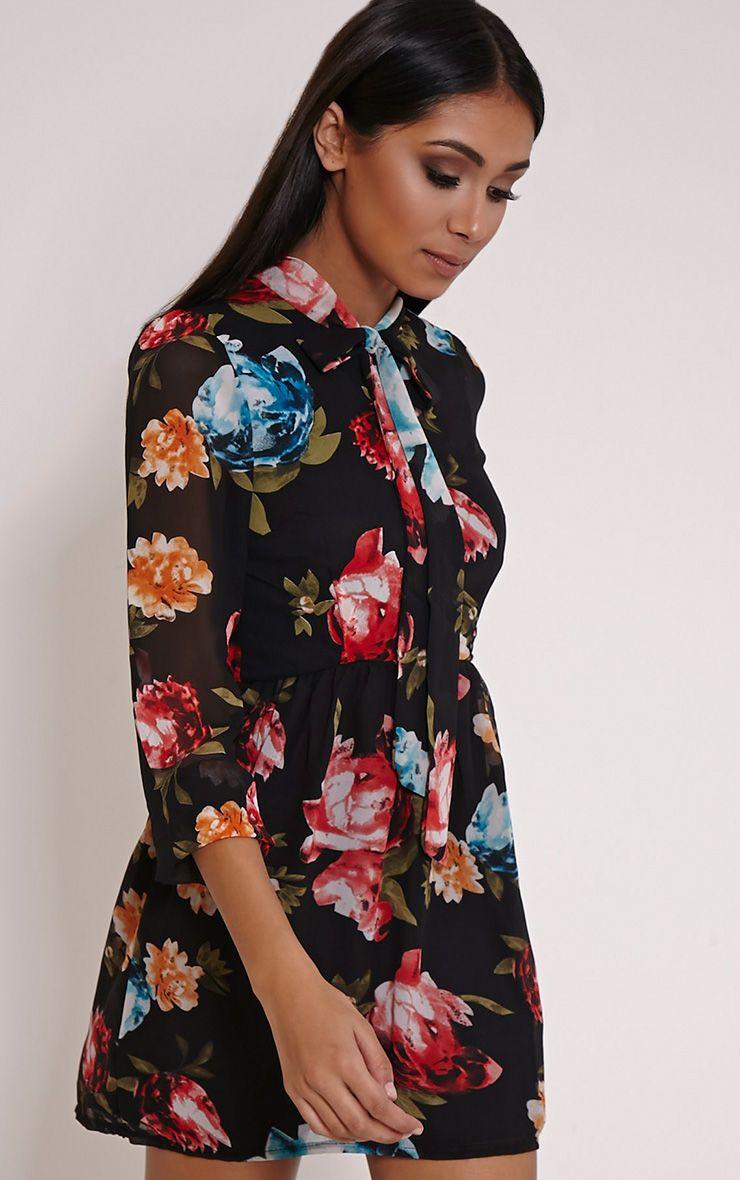 Dalia Black Floral Pussybow Dress 1