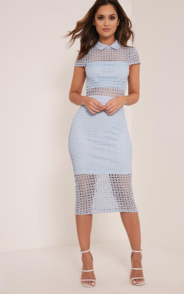Becky Baby Blue Collar Detail Crochet Midi Dress 1