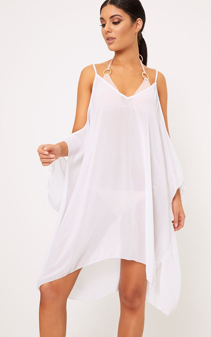 Roslyn White Chiffon Beach Cover Up Dress