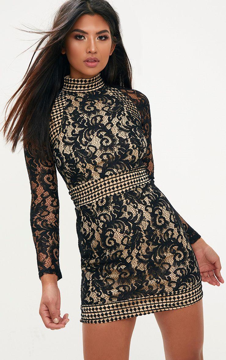Black white pink dress