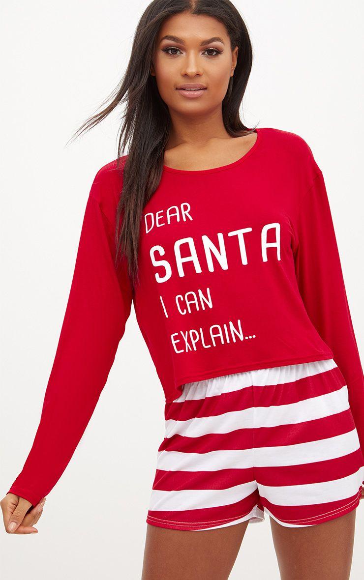 Red Dear Santa I Can Explain Crop Short Set