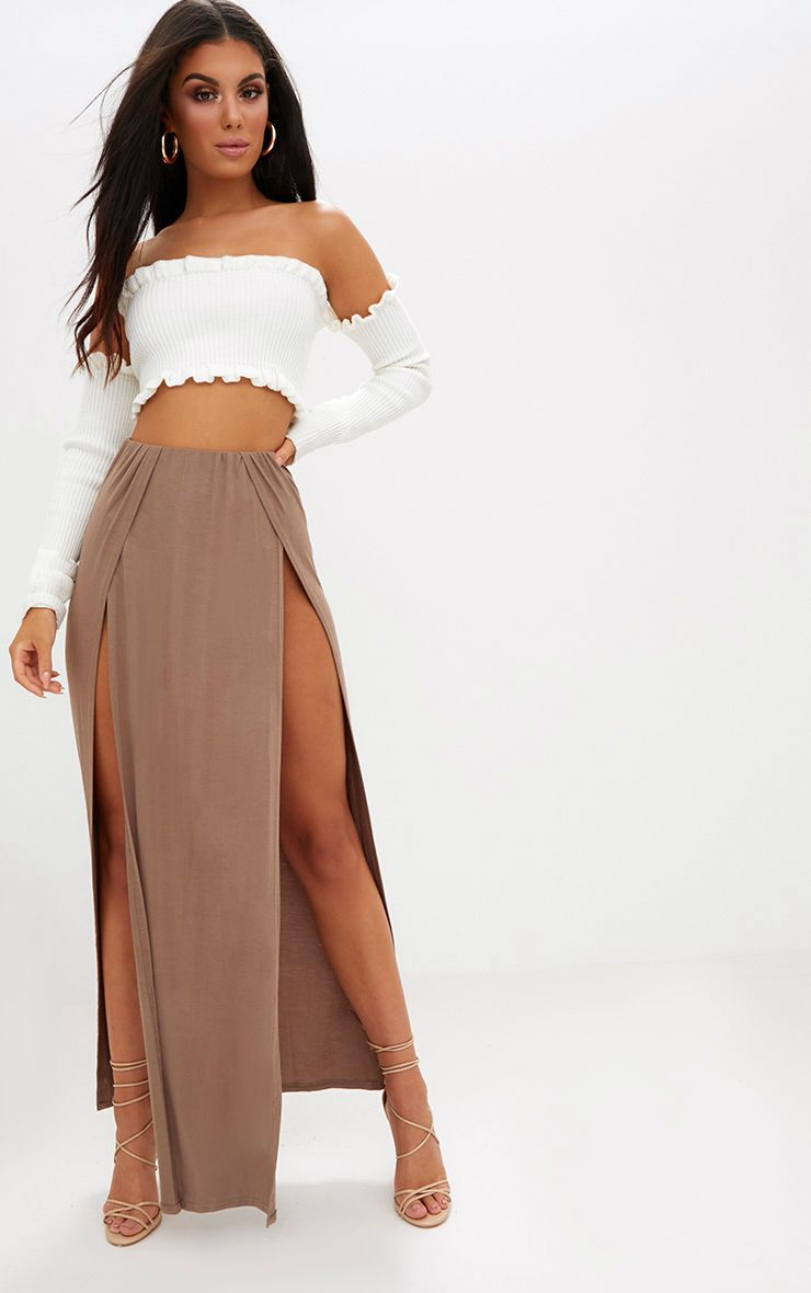 Mocha Double Split Maxi Skirt