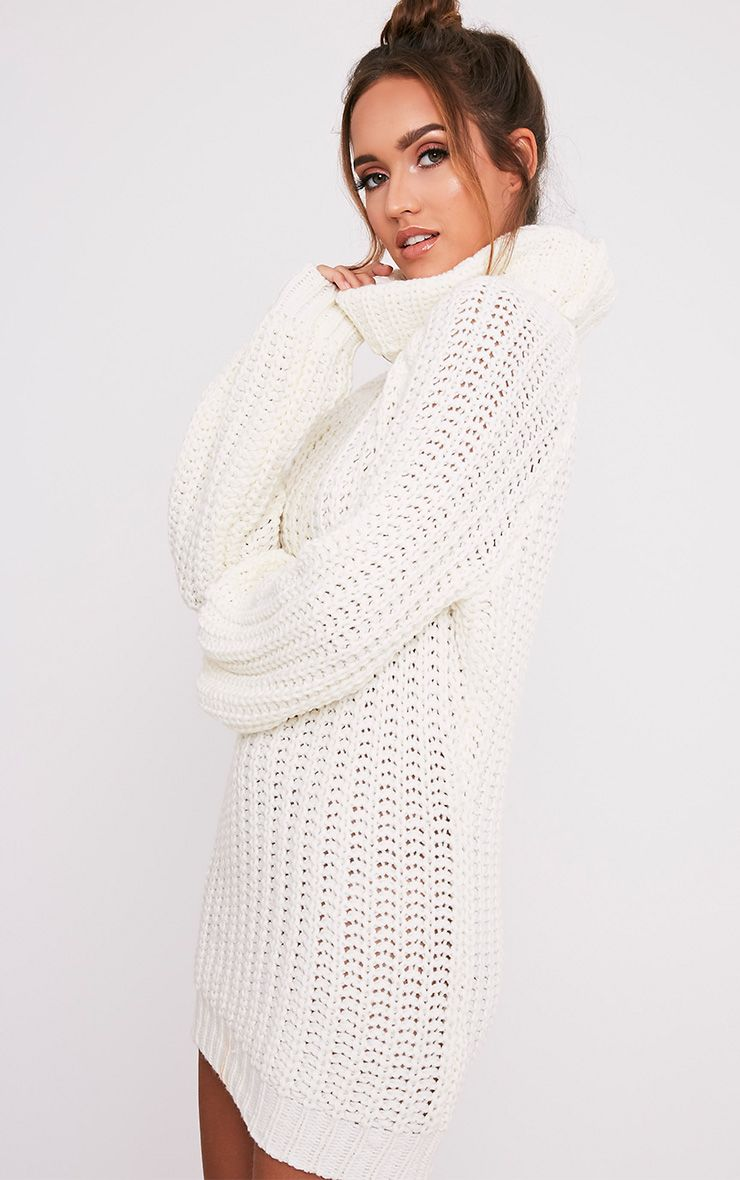 Shainel Cream Roll Neck Chunky Knit Jumper 4