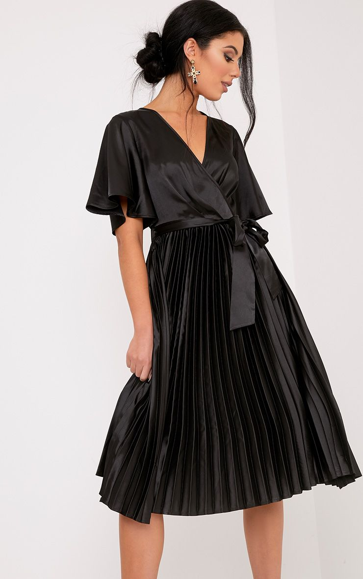 Mairee Black Satin Pleated Midi Dress