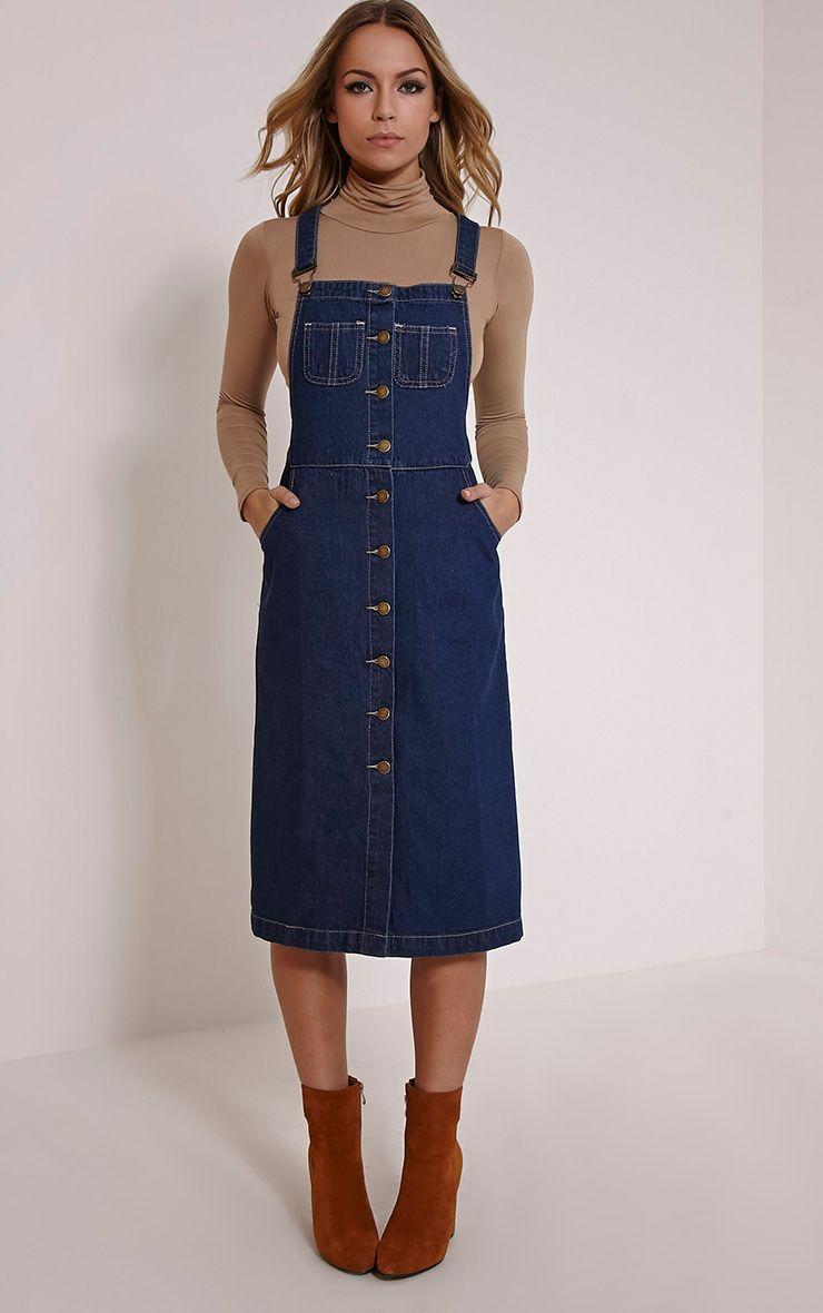 Dolly Indigo Denim Button Front Pinafore Dress 1