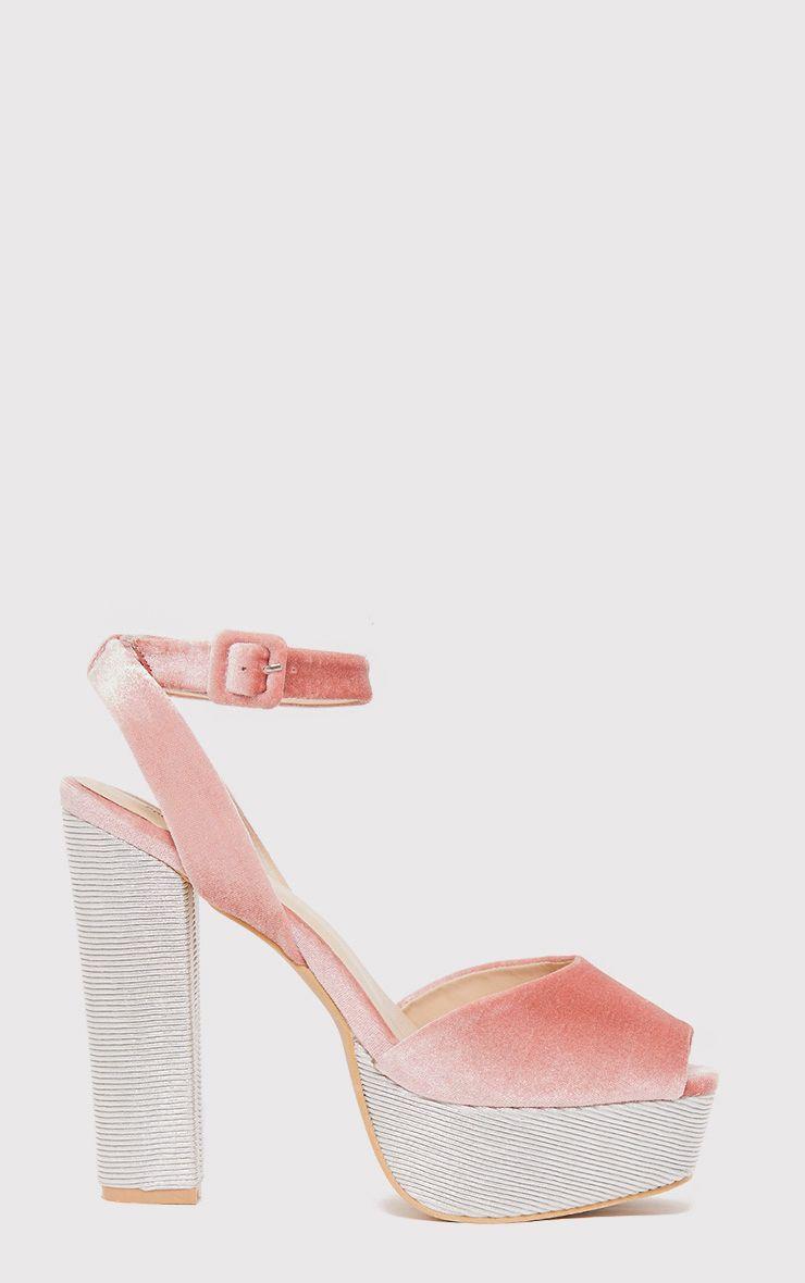Dianne Pink Velvet Platform Heels