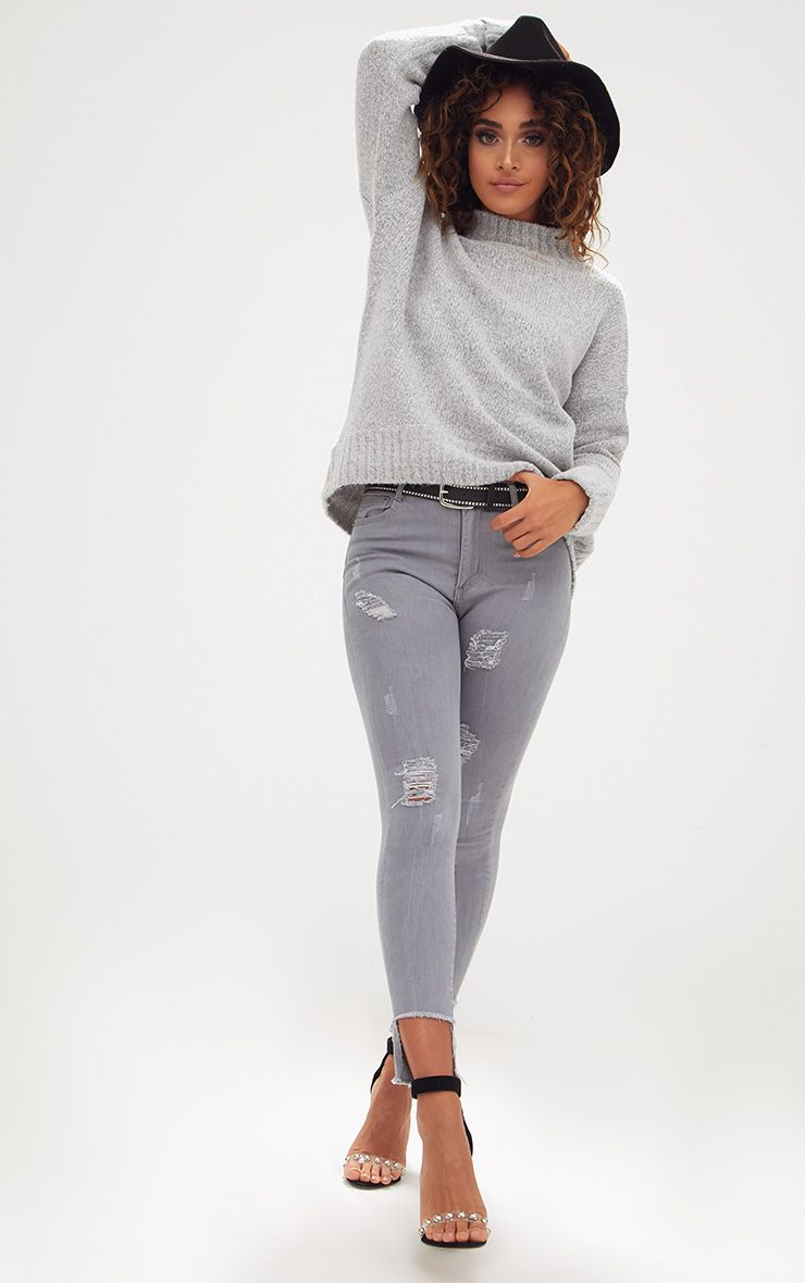 Light Grey Distressed High Waisted Skinny Jean