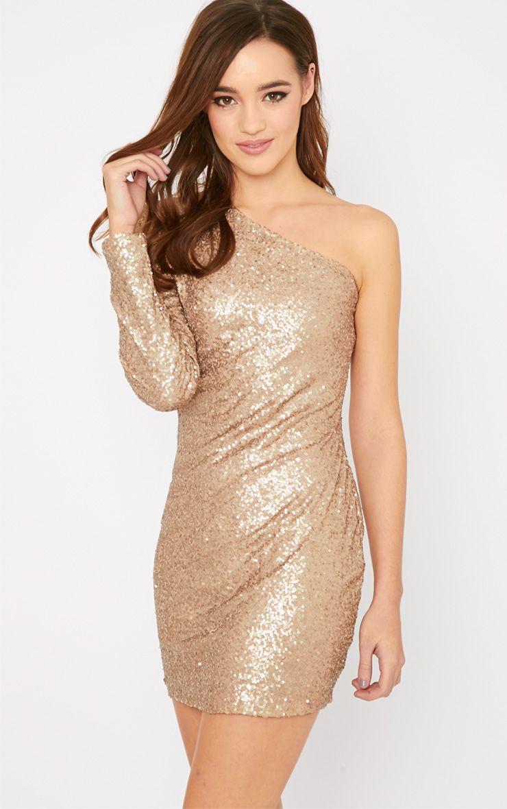 Kisha Gold One Shoulder Sequin Mini Dress 1