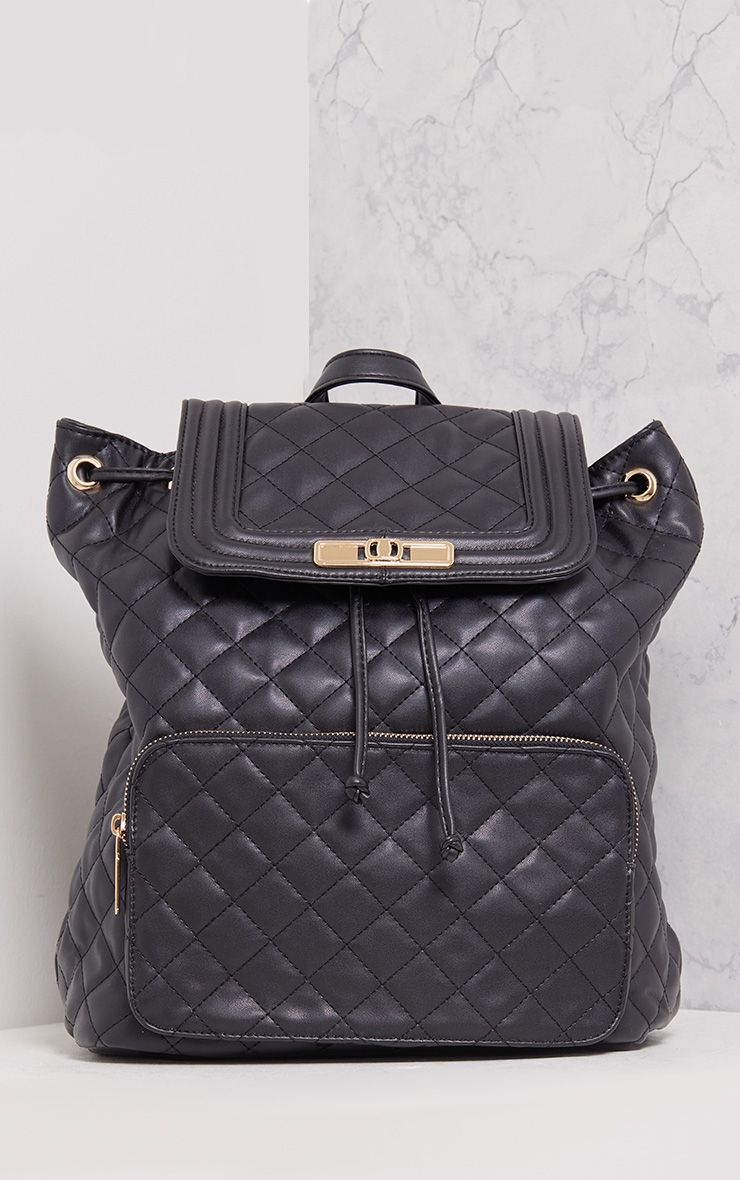 Peppa Black Quilted Backpack