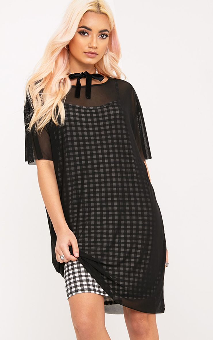 Kanayarr Gingham & Mesh 2-in-1 Dress Black