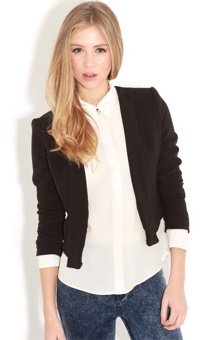 Eadie Black Cropped Blazer  1