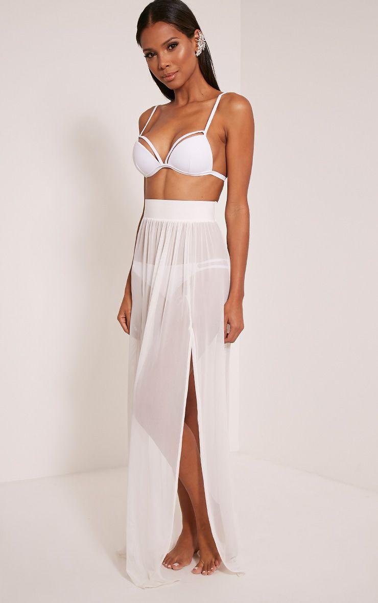 Minah White Mesh Maxi Skirt