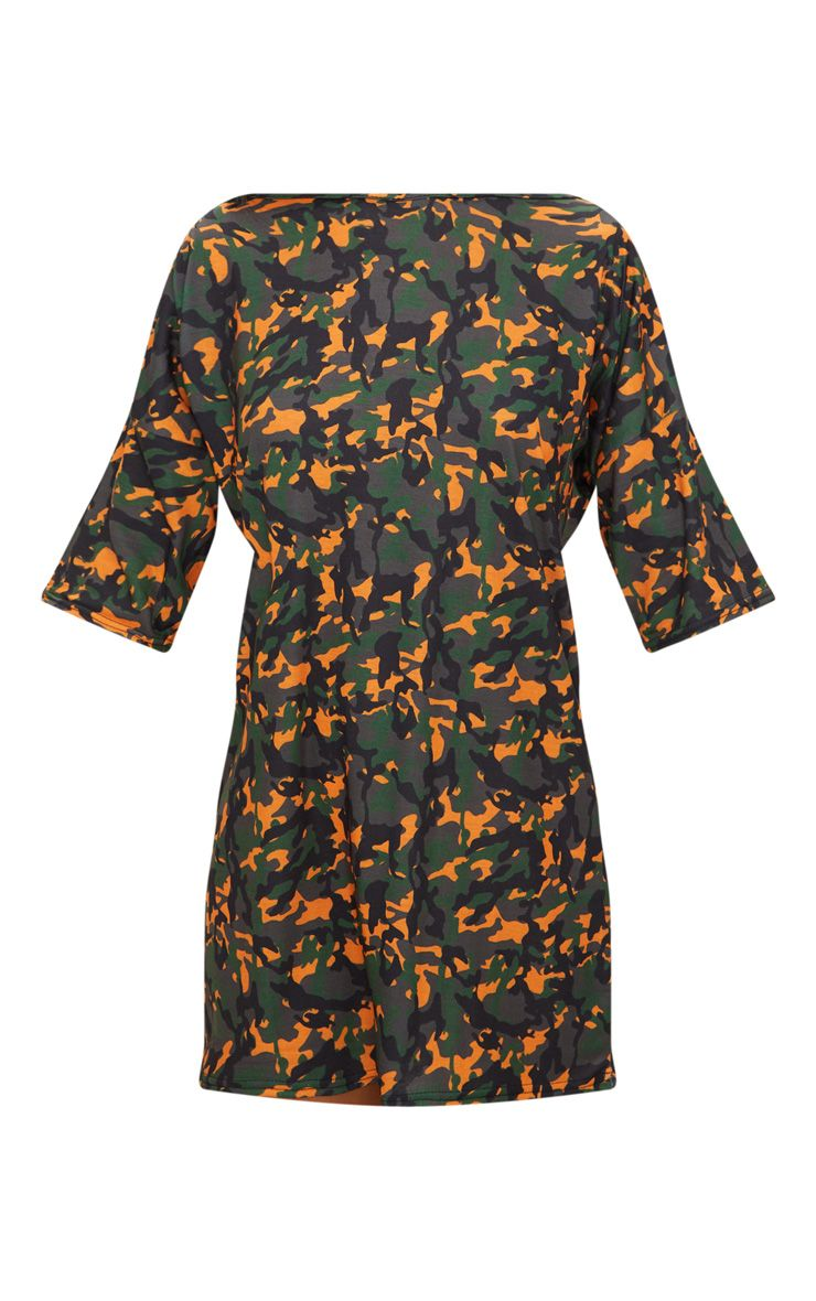 Camo print t shirt dress dresses prettylittlething for Camo print t shirt