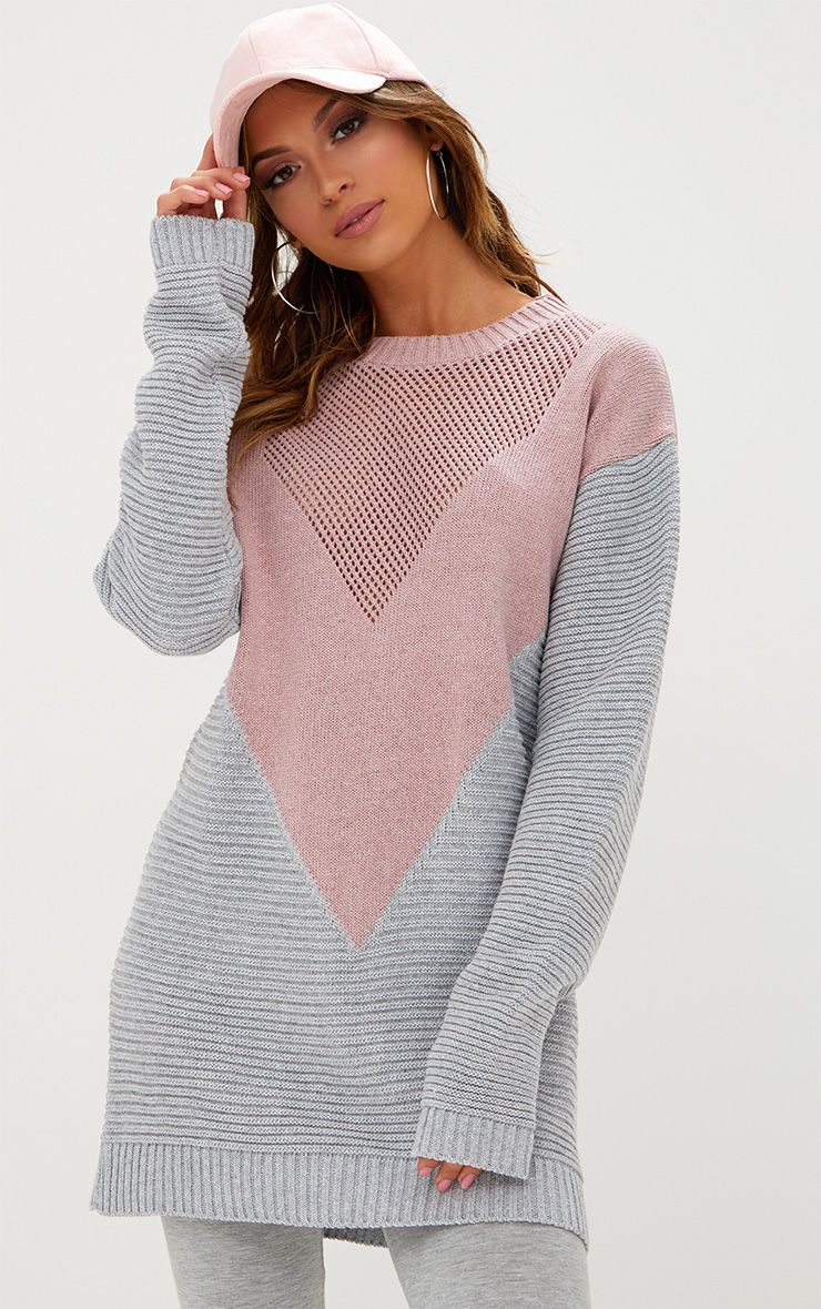 Blush Colourblock Open Weave Jumper