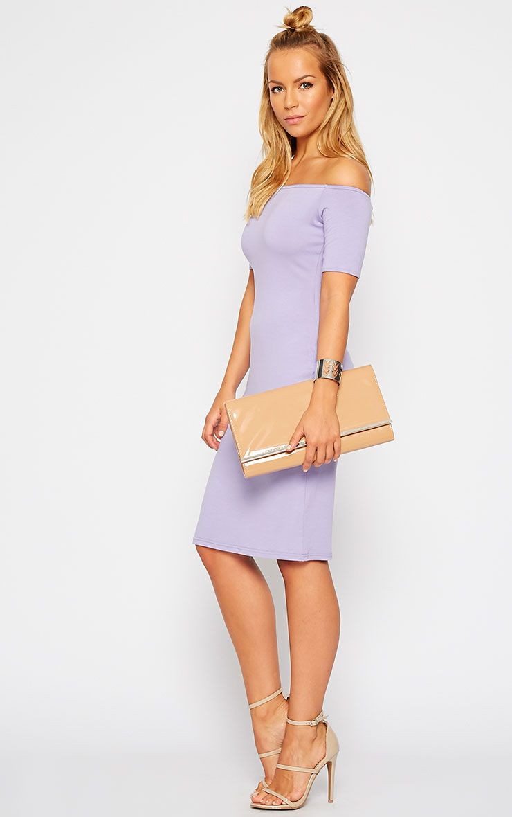 Caty Lilac Jersey Bardot Midi Dress 1