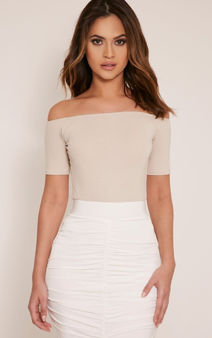Basic Stone Bardot Short Sleeve Bodysuit