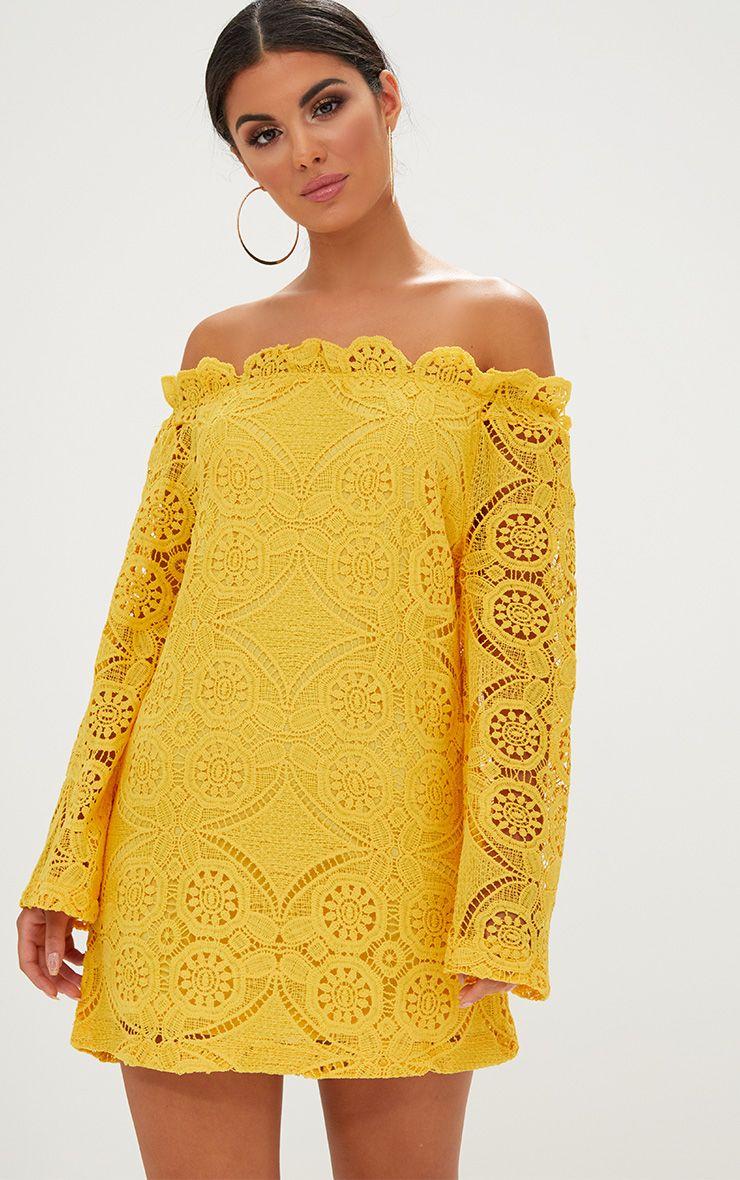 Gracie Yellow Bardot Lace Swing Dress
