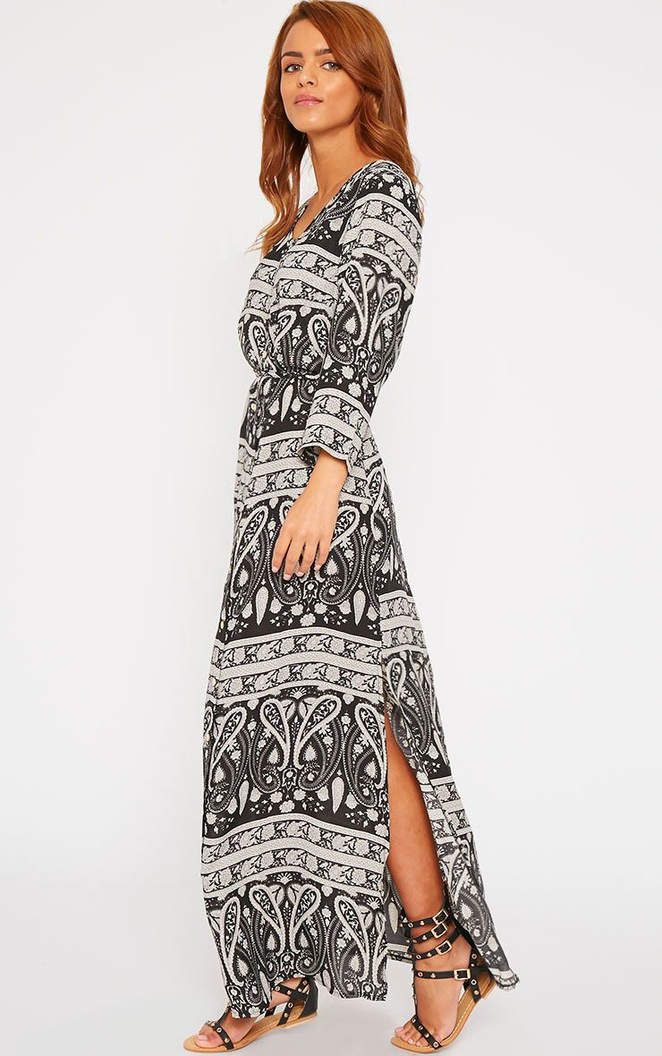Octavia Black Paisley Print Button Front Maxi Dress 1