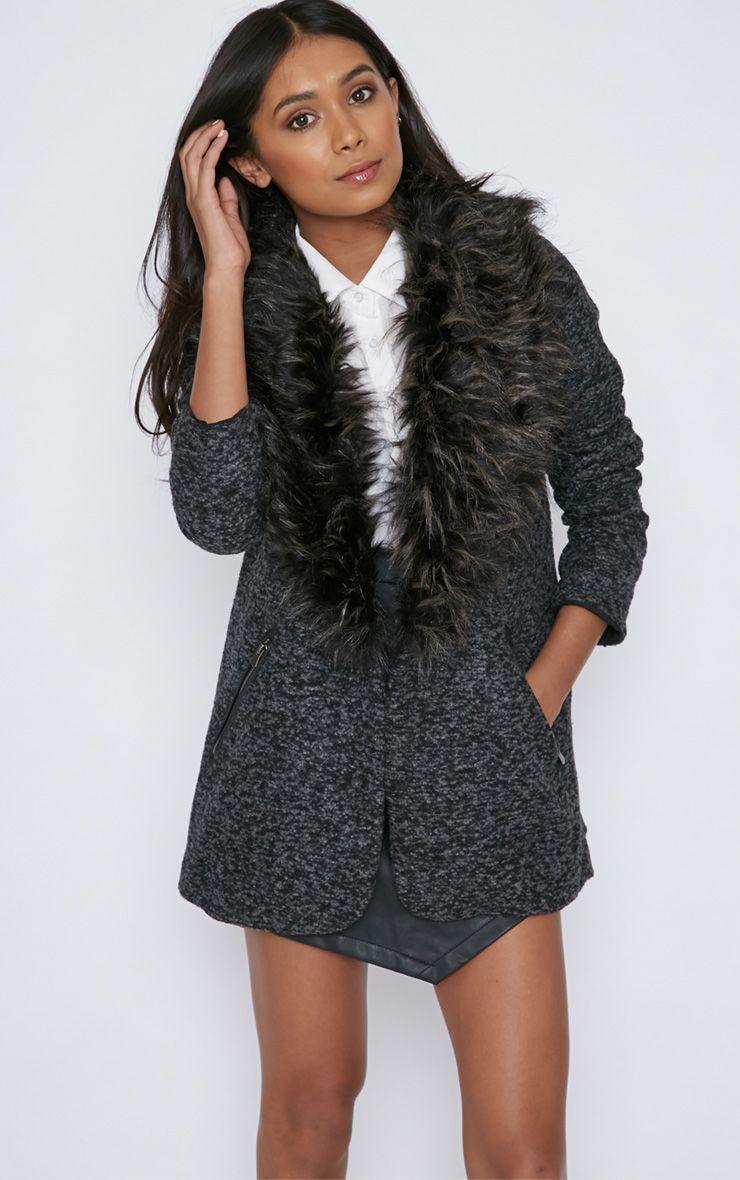 Lindy Grey Wool Coat With Fur Trim  1