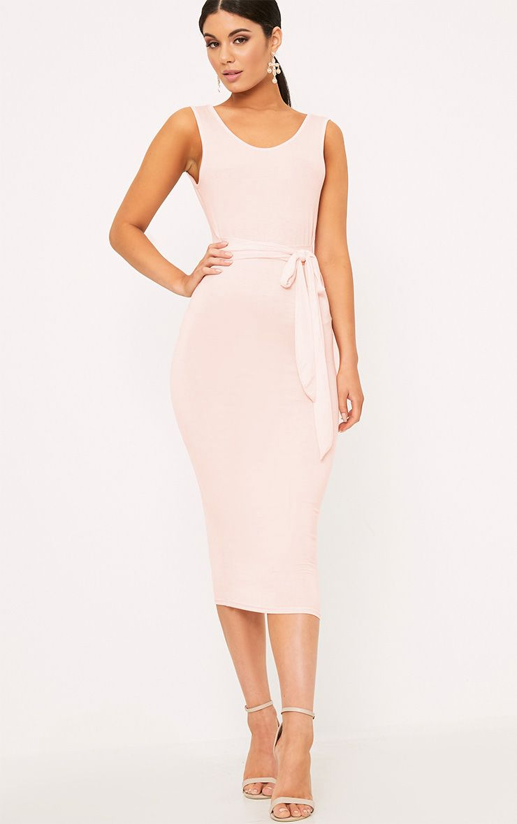 Nude Tie Waist Midi Dress