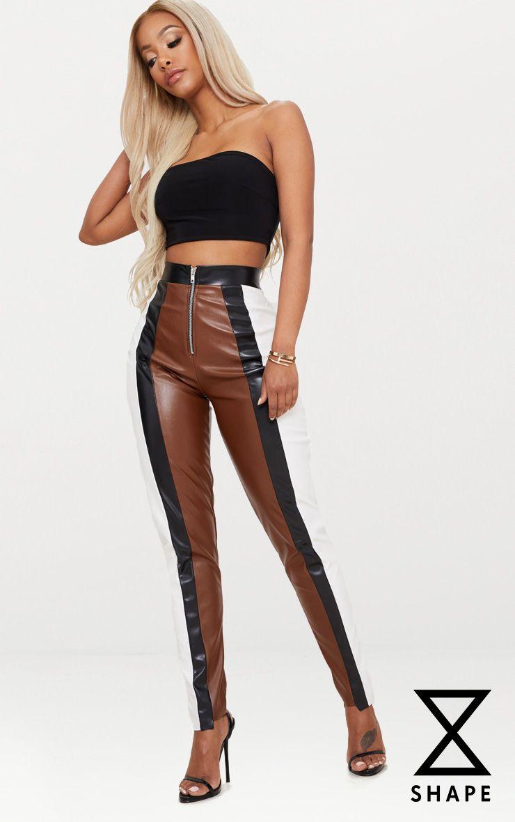 Shape Brown PU Panel Trousers