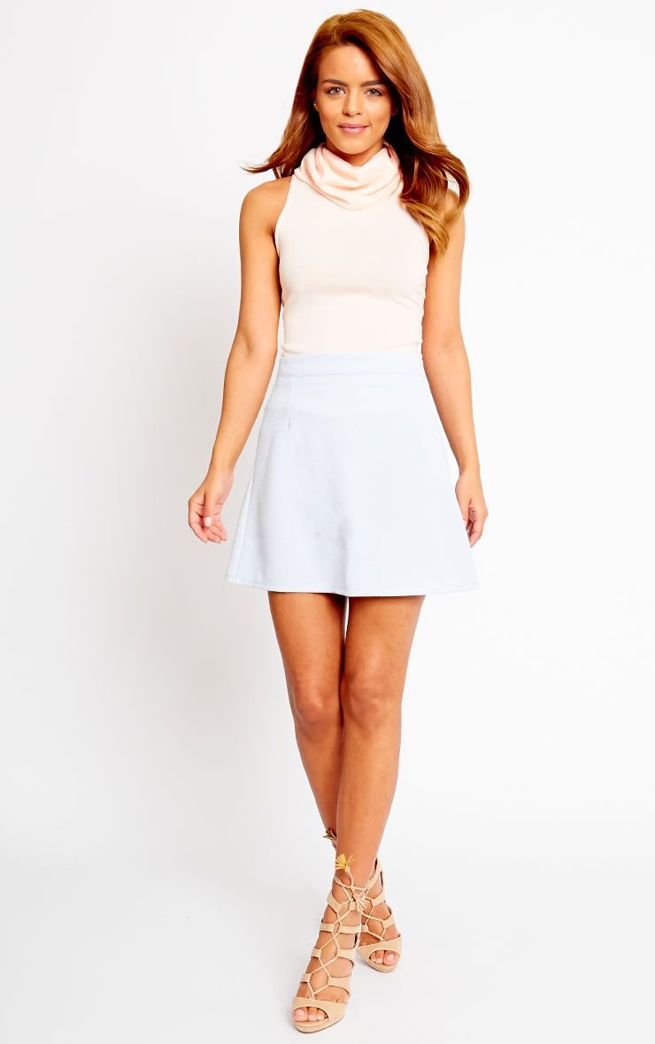 Rori Powder Blue Crepe A Line Mini Skirt 1