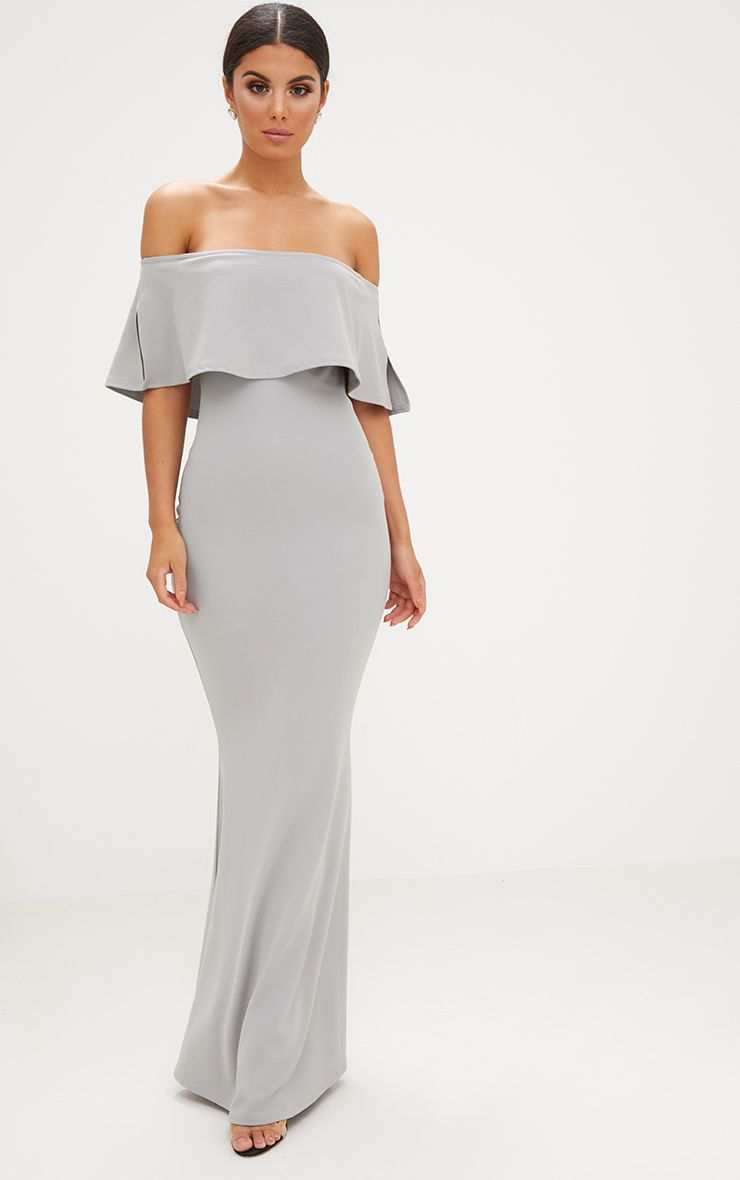 Dove Grey Bardot Frill Fishtail Maxi Dress
