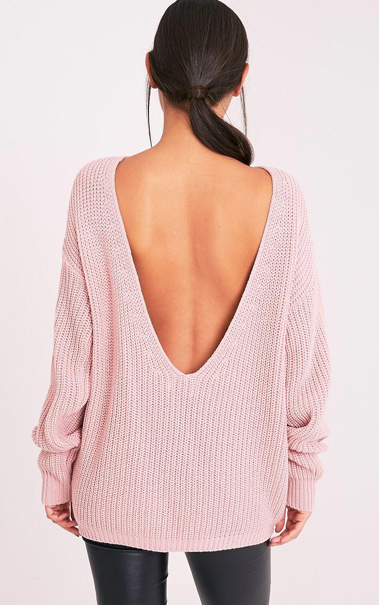 Flossie pull à dos en V tricoté style pêcheur rose pâle 2