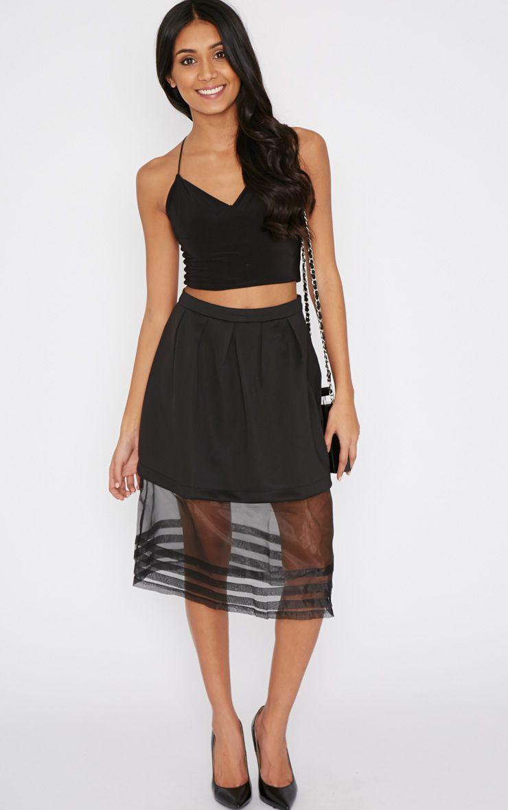 Luciana Black Mesh A Line Midi Skirt 1