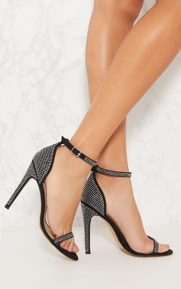 Black Diamante Barely There Heeled Sandal