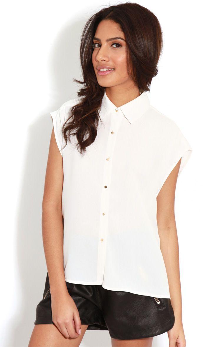 Effie White Chiffon Sleeveless Shirt -M/L 1