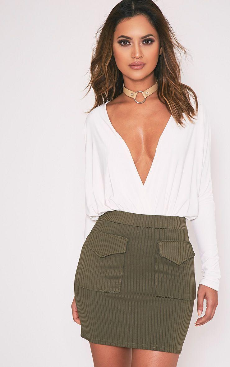 Esta Khaki Pocket Ribbed Mini Skirt 1
