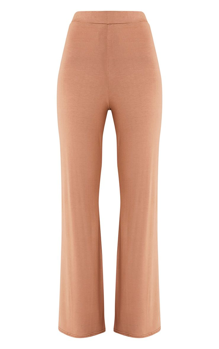 Basic pantalon large en jersey camel 3