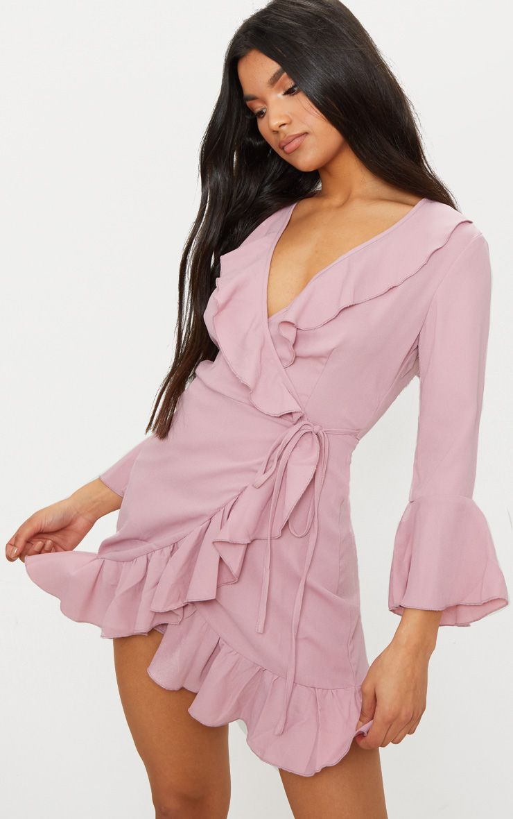 dusty pink frill wrap dress