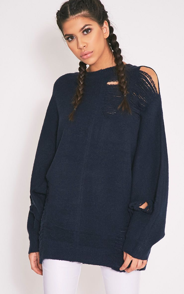 Raysa Navy Distressed Oversized Knitted Jumper