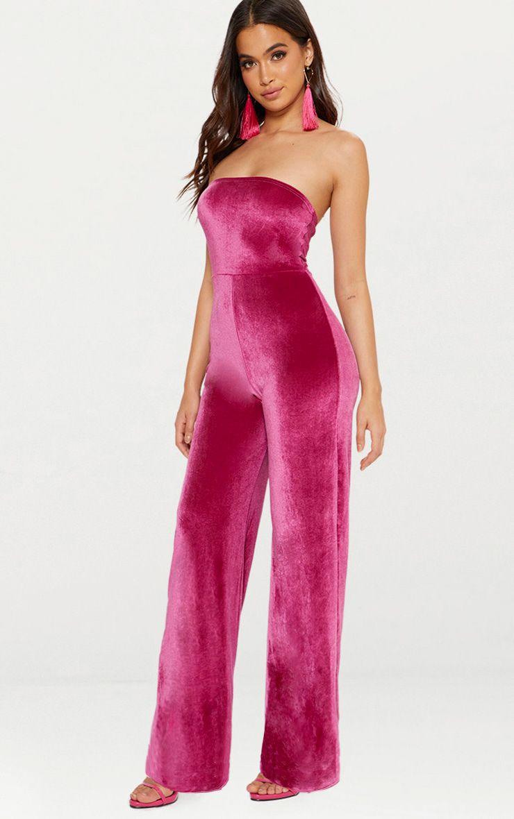 Pink Velvet Bandeau Wide Leg Jumpsuit