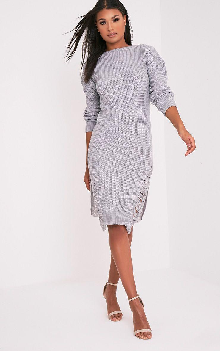 Kionae robe en maille surdimensionnée grise 4