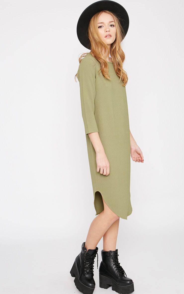 Camilla Khaki Crepe Shift Dress 1