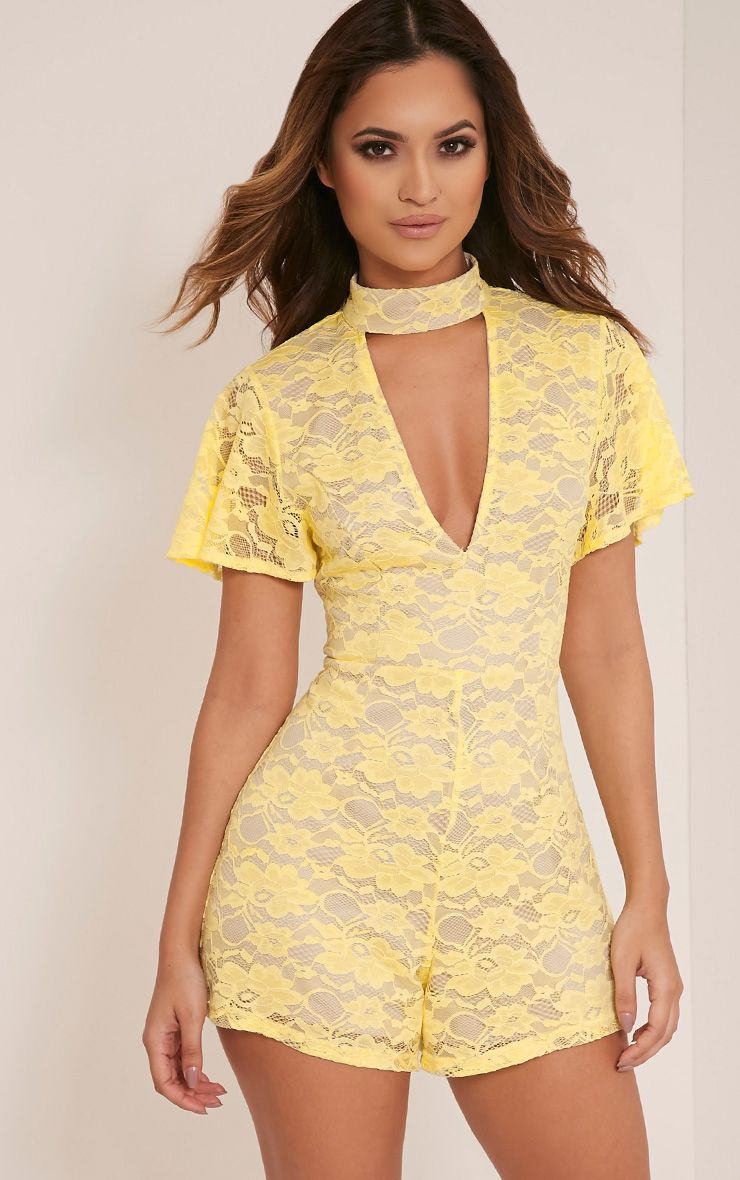 Carrey Lemon Capped Sleeve Choker Lace Playsuit
