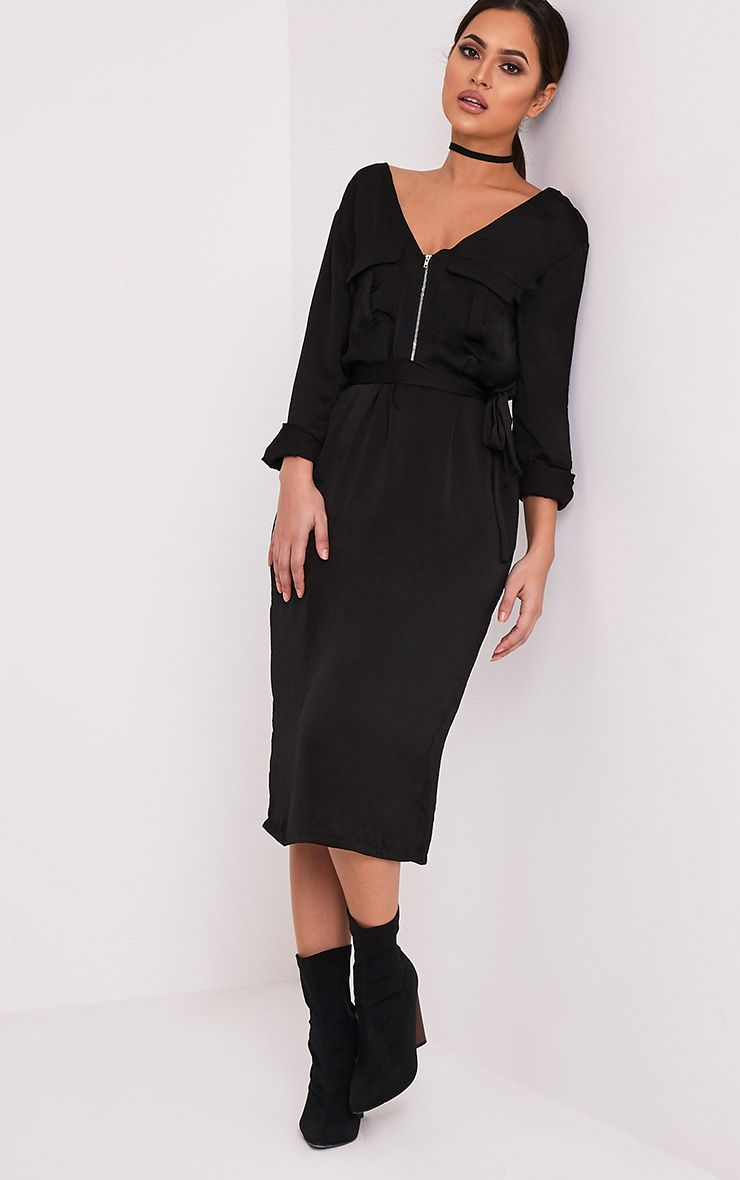 Taynara Black Silky Tie Waist Midi Shirt Dress