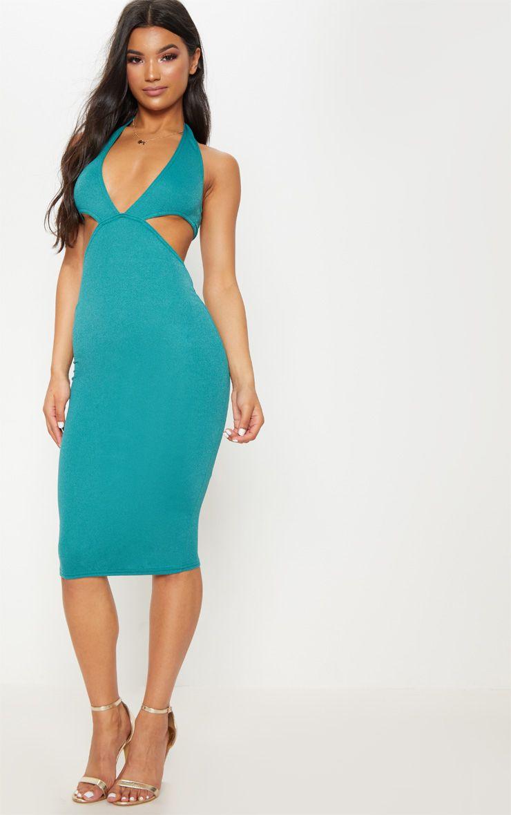 Deep Turquoise Halterneck Plunge Cut Out Detail Midi Dress ...