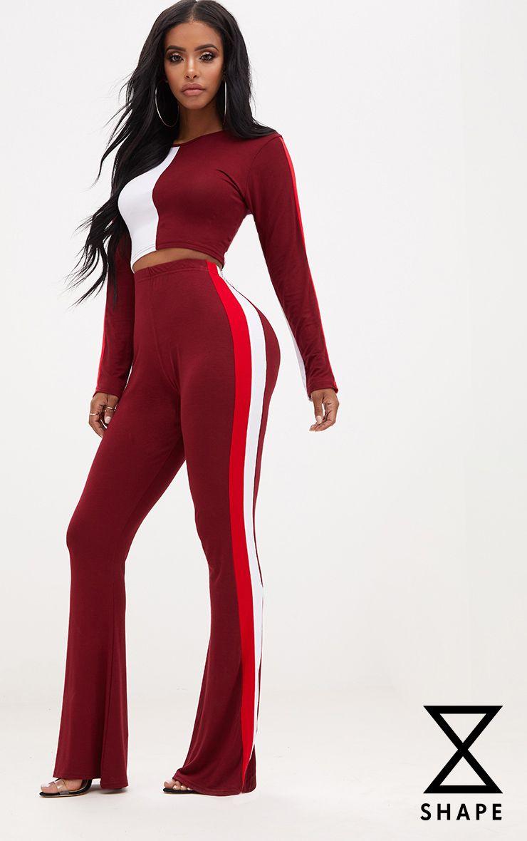 Shape Burgundy/Red Stripe Side Flared Trousers