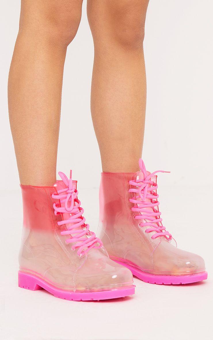 Karlia Fuchsia Lace Up Short Rain Boots