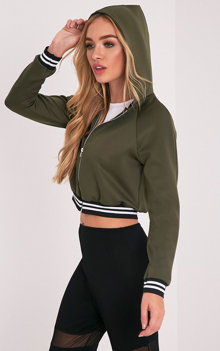 Jael Khaki Scuba Hooded Crop Bomber 1