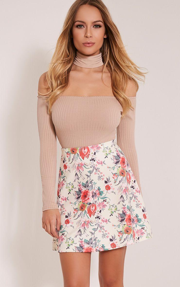 Deltie Coral Floral A-Line Mini Skirt 1