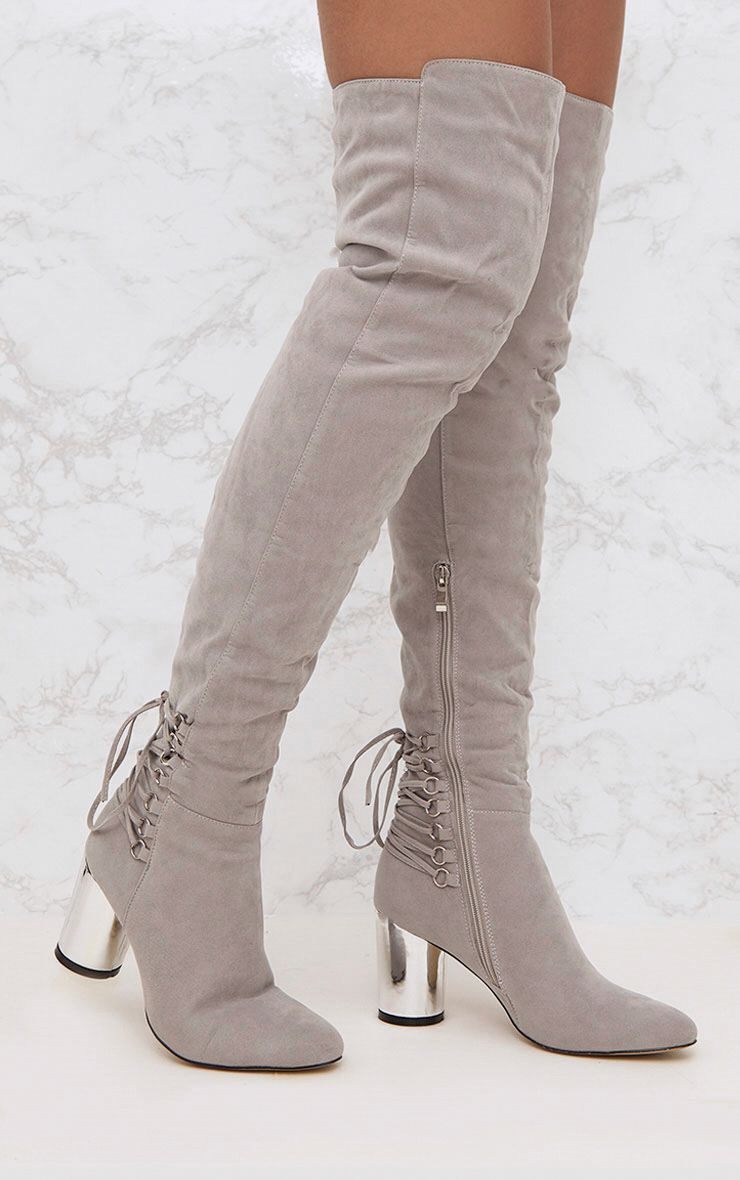 Grey Lace Up Detail Faux Suede Thigh High Boots