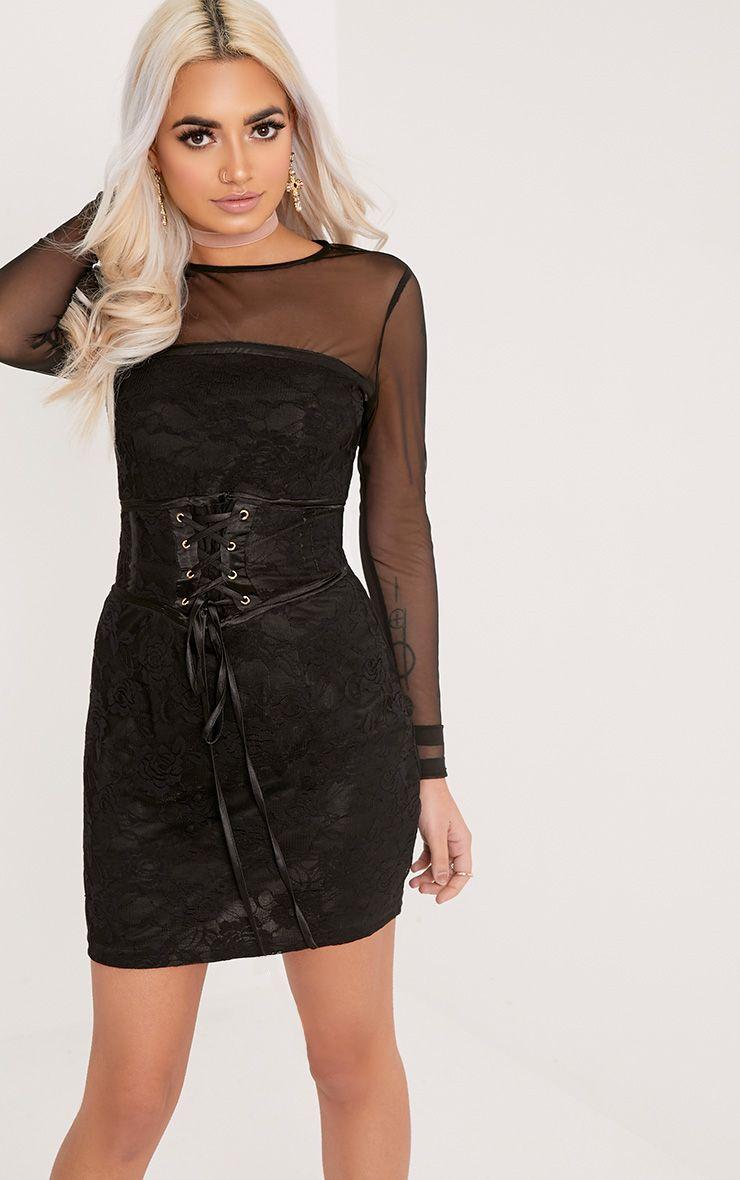 Kalla Black Corset Detail Lace Bodycon Dress